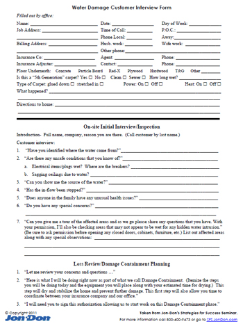 water damage interview form