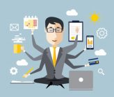 40658615 - businessman with multitasking and multi skill. keep calm. business concept. flat design