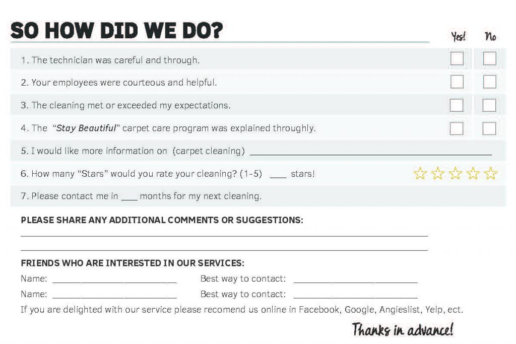 residential customer comment card